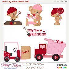 Marshmallow Love at Work Layered Element Templates cudigitals.com clipart template cu commercial scrap scrapbook digital graphics #cu #scrapbooking #photoshop #digiscrap