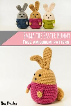 Crochet Emma the Easter Bunny using this easy and FREE amigurumi pattern! All you need is two colors of your favorite worsted weight yarn, a hook, safety eyes and a safety nose (unless you love embroidering on amigurumi, unlike me). Crochet Bunny Pattern, Easter Crochet Patterns, Amigurumi Patterns, Bunny Crafts, Easter Crafts, Crochet Gifts, Crochet Dolls, Crochet Bookmarks, Easter Bunny