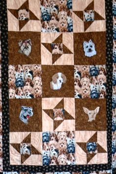 """SOLD! Similar quilt available upon request from Arlene. Five embroideries and wonderful dog fabrics honor """"man's best friend"""""""