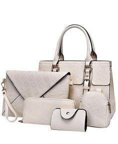Luxury Plaid Pattern Women Handbag PU Leather Bag Five Pieces Per Set