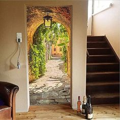 murimage Door Mural Alley 86 x 200 cm Including Paste Photo Wallpaper narrow street Passage ancient stones vintage Romantic Lantern Tuscany Italy kitchen Wallmural Wallpaper Door, Photo Wallpaper, Door Murals, Mural Wall Art, Guest Bedroom Home Office, Deco Stickers, Wall Painting Decor, Futuristic Home, Hand Painted Walls