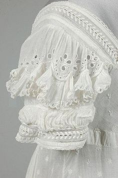 A sprigged muslin day dress, circa embroidered overall with minute leaves and flowerheads, puffed cutwork sleeves edged in ruffles of muslin, similar broad ruched band to hem, 550 £ 1800s Fashion, 19th Century Fashion, Edwardian Fashion, Vintage Fashion, Md Fashion, Style Fashion, Old Dresses, Vintage Dresses, Vintage Outfits