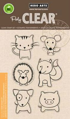 cat, fox, mouse, dog, pig, and hedgehog Hero Arts Playful Animals Cl832 Clear Stamps by a2zscrapbooking
