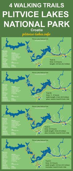 Map of 4 walking / hiking trails in Plitvice lakes National Park in Croatia