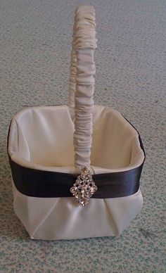 Ivory Satin with Charcoal Gray Flower Girl Basket. $15.00, via Etsy.
