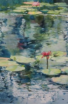 Nymph Echo : Painting lily pads and reflections on water with watercolor  by SANDRINE PELISSIER on ARTiful, painting demos