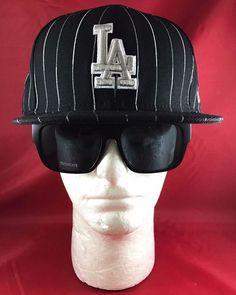 New Era 59Fifty MLB LA Dodgers Fitted Hat Black & Silver Pinstripe #NewEra #LosAngelesDodgers