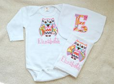 Personalized Applique Owl Onesie Burp by anythingbabyboutique, $36.00