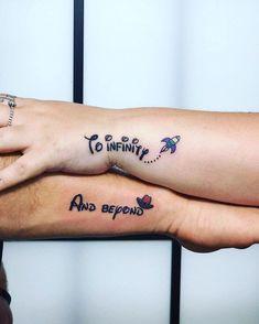 To Infinity And Beyond Toystory Toystorytattoo Disney Pixar Tattoo Coupletat Bff Tattoos, Cute Best Friend Tattoos, Matching Best Friend Tattoos, Bestie Tattoo, Love Tattoos, Small Tattoos, Matching Tattoos For Cousins, Infinity Tattoos, Matching Disney Tattoos