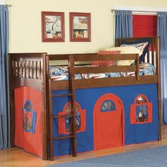 Mission Twin Low Loft Bed With Bottom Curtain And Built-in Ladder