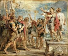 Constantine's Conversion (by Peter Paul Rubens) - The Emblem of Christ Appearing to Constantine / Constantine's conversion , oil on panel painting by Peter Paul Rubens, 1622. Philadelphia Museum of Art.