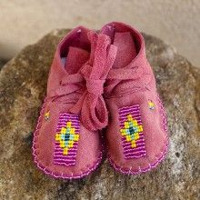 WATERMELON LEATHER BEADED BABY MOCCASINS by JANET WHITEMAN - CHEYENNE