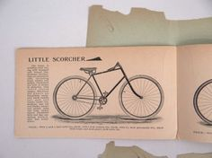 Bicycle catalog lot including 1900 Eldredge and 1896 Elgin. Fair condition. Pedaling History Museum.