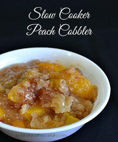 Slow Cooker Peach Cobbler - Lady Behind the Curtain -Company coming and you don't have time to bake, clean the house, fix dinner and run the kids around?  Make this easy and delicious dessert in a snap.