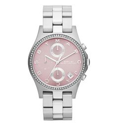 Marc by Marc Jacobs Henry Chrono Glitz watch in Silver w/ Pink