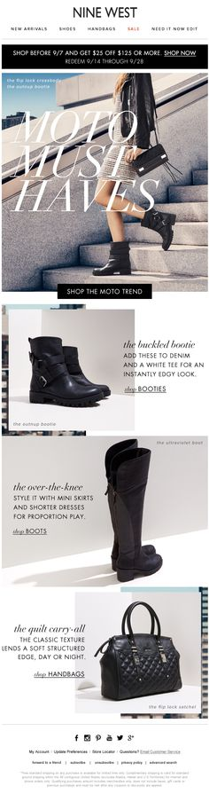 #ninewest #mosborne #email #layout #shoes #fall Fashion Images, New Fashion, Flex Banner Design, Email Layout, Shoe Poster, Banners, Nina Shoes, Newsletter Design, Email Design