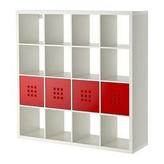 KALLAX / LEKMAN, Shelf unit with 4 inserts, white