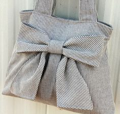 Striped Bow Bag Purse w/ double by peacelovenpolkadots