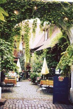 Beautiful green beer garden. http://www.oktoberfesthaus.com