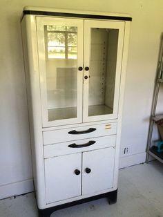 Vintage steel Hamilton medical cabinet with original von gungorkaya