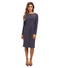 Adrianna Papell Long Sleeve Knot Det Jersey Dress