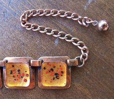 Vintage MATISSE RENOIR Modernist Copper & Orange Enameled Necklace & Earring Set