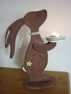 Hase Holz Teelichthalter Teelicht Frühling Ostern handgefertigt lichtecht | eBay
