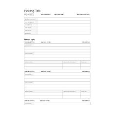 meeting minutes notes template
