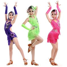Girls Latin Dancewear Tassel Tango Modern Dance Costume Ballroom Perform Outfits | eBay