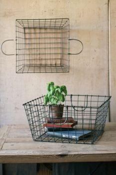 Set of 2 Wire Hand Baskets
