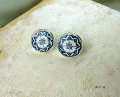 Portugal Antique Azulejo Tile Replica Earrings 925 by Atrio