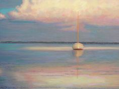 pastel painting: Sailboat Summer Evening Pastel Painting by Poucher