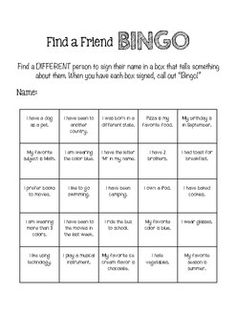 A great first day of school activity to help your students get to know one another. This file includes a color and black and white version. First Day Of School Activities, Activities For Kids, Friend Bingo, Middle School, Back To School, Chocolate Cream Cake, School Grades, Teacher Pay Teachers, Getting To Know