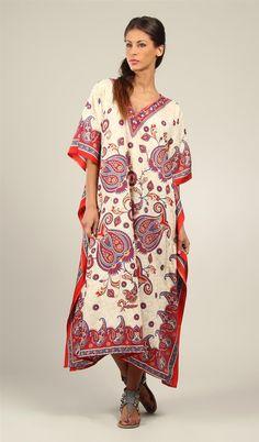 Rubina Kapoor's Ladies Long Beautiful Ivory & Red & Blue With Mango paisley Print Plus Size Maxi Tribal Ethnic Print Kaftan