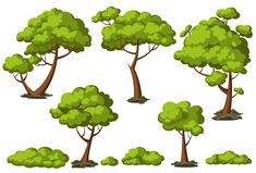 Cartoon trees set Graphics Set of funny vector cartoon trees and green bushes. Zip-folder contains EPS and SVG files, PNG image by SHMEL_Studio Cartoon Trees, 2d Game Art, Game Background, Pixel, Creative Sketches, Pencil Illustration, Image Hd, Watercolor And Ink, Game Design