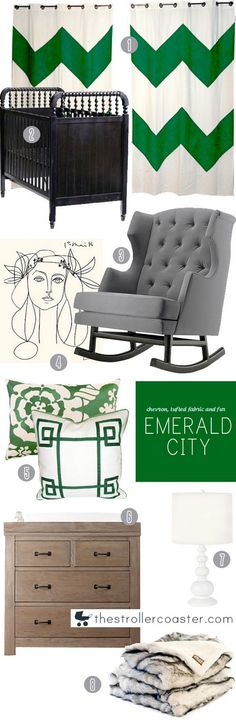 emerald city #coloroftheyear  That gray chair is almost a perfect color match to the den wall color.. I think I am going to go with my gut and do an emerald city inspired room!  Maybe I'll paint my white curtains with emerald stencils.