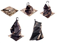 """Made from a single piece of cloth, each piece has a 3D form that emerges from a 2D shape with the gentle tug of a string, and can be worn in multiple ways - """"132 5"""" by Issey Miyake"""