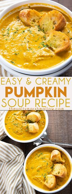 Easy Pumpkin Soup – This thick and creamy pumpkin soup is simple to make using canned pumpkin puree! Caramelized onion, cinnamon, nutmeg, and ginger give this fall favorite soup amazing warm flavor! - Easy Pumpkin Soup - The Salty Marshmallow Pumpkin Puree Recipes, Pureed Food Recipes, Cooking Recipes, Healthy Recipes, Easy Pumpkin Soup Recipe, Puree Soup Recipes, Pumpkin Dinner Recipes, Beef Recipes, Chicken Recipes
