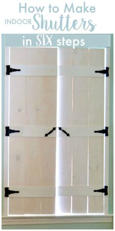 I love how these shutters give such a fabulous rustic farmhouse look. How to Make DIY Indoor Shutters - a step by step tutorial house window shutters How to make wooden shutters in SIX steps! Diy Shutters, Repurposed Shutters, Indoor Window Shutters, Diy Interior Window Shutters, Bedroom Shutters, Inside Shutters For Windows, Homemade Shutters, Bedroom Windows, Diy Furniture
