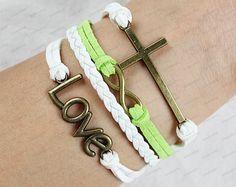 cross love bracelets-white leather bracelets white rope  Adjustable bracelets-best chose for gift N0077. $6.99, via Etsy.