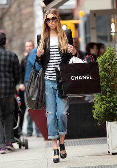 blazer + boyfriend jeans + heels