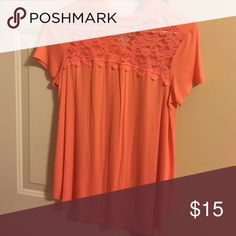 Peach top Peach shirt with lace top Candie's Tops Tees - Short Sleeve