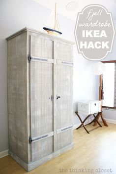 IKEA Hack: Whitewashed Fjell Wardrobe with Pallet Shelves - the thinking closet Ikea Furniture, Pallet Furniture, Furniture Projects, Furniture Makeover, Painting Furniture, Furniture Online, Furniture Design, Diy Pallet Projects, Home Projects