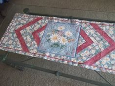 Quilted Table Runner With Daisies by PatsysPatchwork on Etsy, $38.00