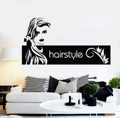 Vinyl Wall Stickers Hair Salon Barbershop Hairstyle Woman Mural Decal (184ig)