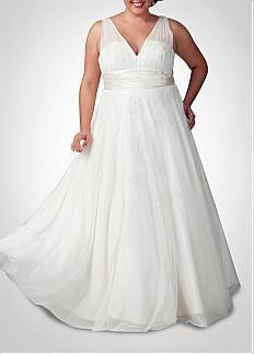 Gorgeous  Tulle & Charmeuse A-line V neckline Plus Size Wedding Dress