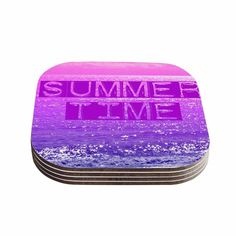 """Kess InHouse Alison Coxon """"Summer Time"""" Pink Typography Coasters (Set of 4) 4""""x 4"""" (Summer Time) (Wood)"""