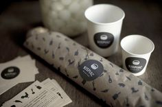Lovely selection of branding and packaging projects by Eszter Laki . Great combinations of texture and process, great food packaging! Cool Packaging, Paper Packaging, Coffee Packaging, Brand Packaging, Packaging Design, Creperia Ideas, Design Editorial, Restaurant Identity, Design Poster