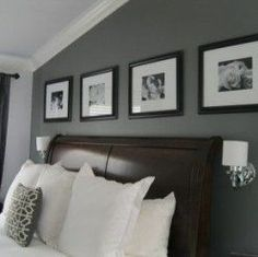 Incridible Black Portray Frames Hang On Best Gray Paint Colors Bedroom Wall Decors Over Mini Wall Mounted White Shade Lamps Between Curved Brown Leather Headboard In Grey Master Bedroom Ideas Gray Painted Walls, Grey Walls, Paint Walls, Behr Paint, Dark Walls, Accent Wall Bedroom, Bedroom Decor, Bedroom Ideas, Accent Walls