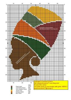 0 point de croix femme africaine et turban - cross stitch african woman and turban